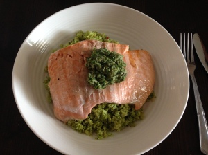 salmon on broc rice