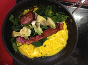 Baby spinach, bacon and avocado omelette